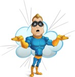 Superhero Cartoon​ Character AKA Commander Dynamo - With Comic Bubble Background