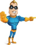 Superhero Cartoon Character AKA Commander Dynamo - Finger Pointing with Angry Face