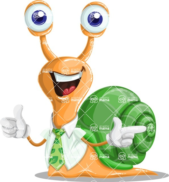 Snail with a Tie Cartoon Vector Character AKA Collin The Ecologist - Point2