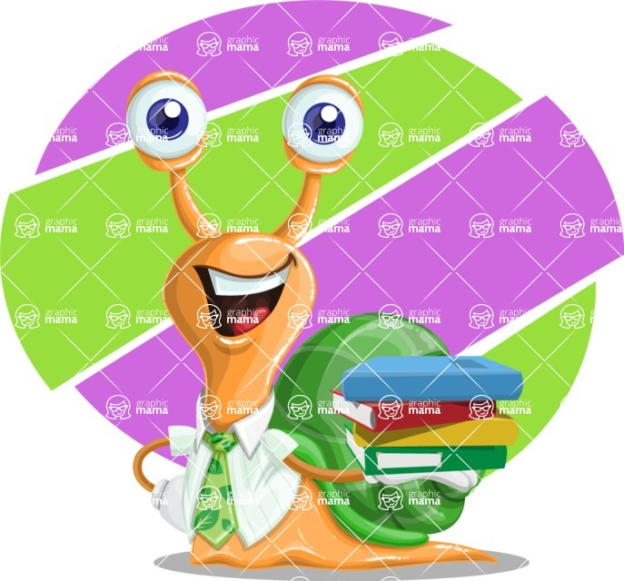 Snail with a Tie Cartoon Vector Character AKA Collin The Ecologist - Shape 10