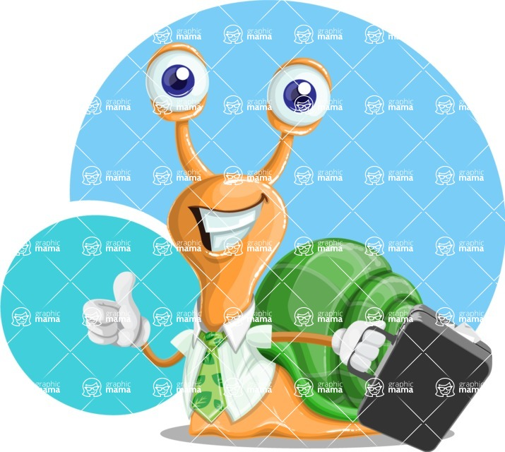 Snail with a Tie Cartoon Vector Character AKA Collin The Ecologist - Shape 12