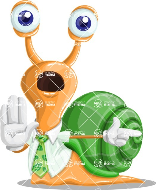 Snail with a Tie Cartoon Vector Character AKA Collin The Ecologist - Direct Attention 2