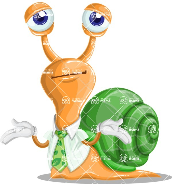 Snail with a Tie Cartoon Vector Character AKA Collin The Ecologist - Sorry