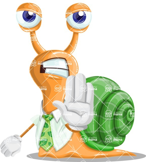 Snail with a Tie Cartoon Vector Character AKA Collin The Ecologist - Stop