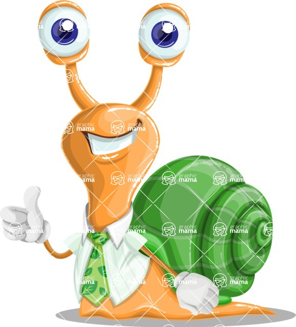 Snail with a Tie Cartoon Vector Character AKA Collin The Ecologist - Thumbs Up