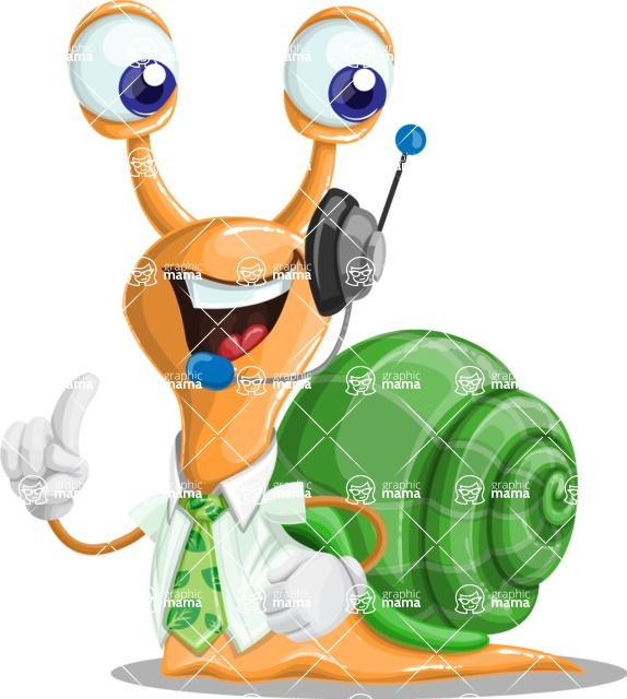 Snail with a Tie Cartoon Vector Character AKA Collin The Ecologist - Support 2