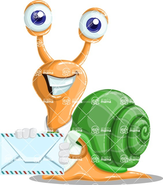 Snail with a Tie Cartoon Vector Character AKA Collin The Ecologist - Letter