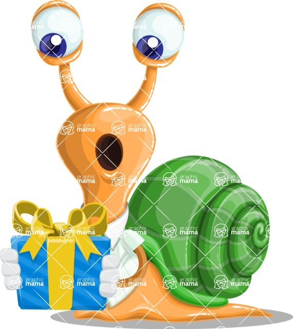 Snail with a Tie Cartoon Vector Character AKA Collin The Ecologist - Gift