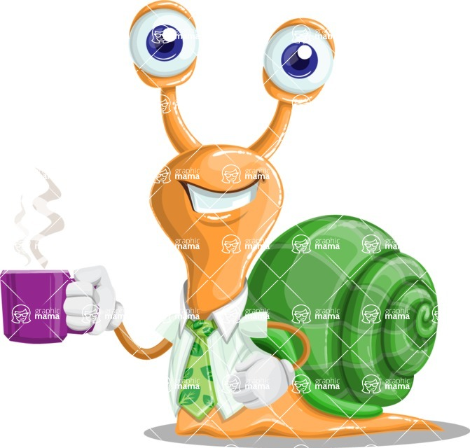 Snail with a Tie Cartoon Vector Character AKA Collin The Ecologist - Coffee