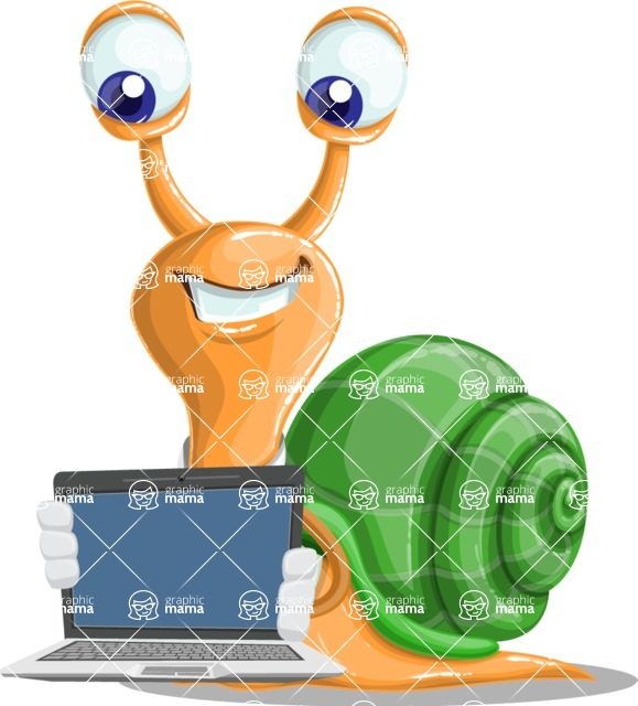 Snail with a Tie Cartoon Vector Character AKA Collin The Ecologist - Laptop 2