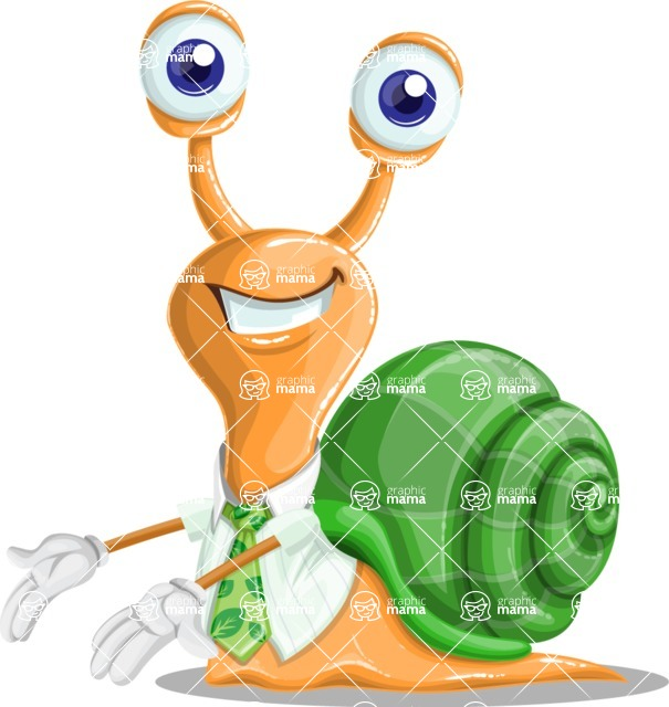 Snail with a Tie Cartoon Vector Character AKA Collin The Ecologist - Showcase 2