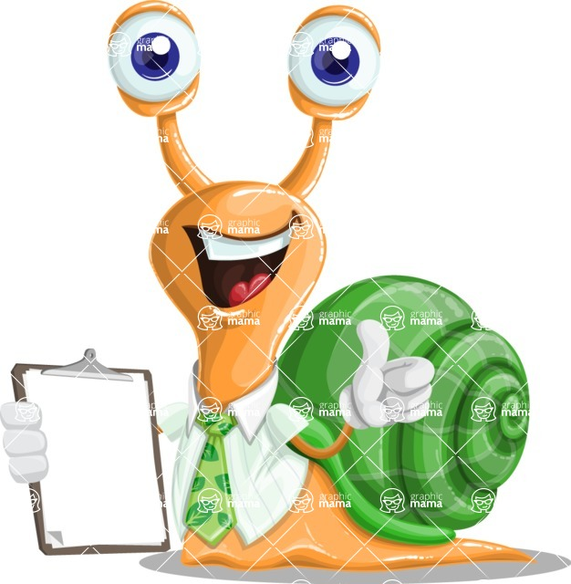 Snail with a Tie Cartoon Vector Character AKA Collin The Ecologist - Notepad 4