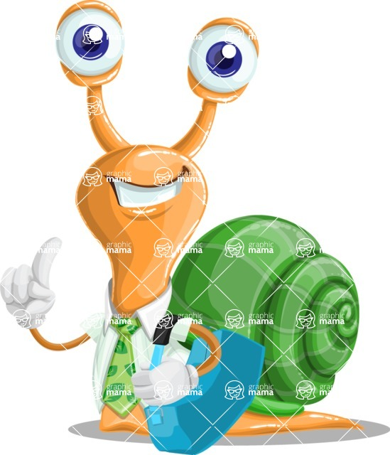 Snail with a Tie Cartoon Vector Character AKA Collin The Ecologist - Travel