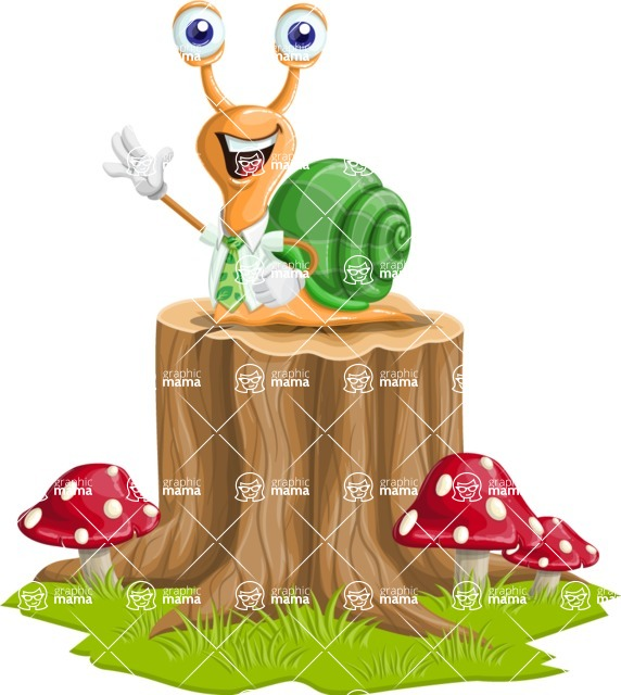 Snail with a Tie Cartoon Vector Character AKA Collin The Ecologist - On Top