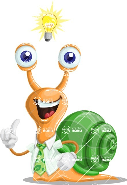 Snail with a Tie Cartoon Vector Character AKA Collin The Ecologist - Idea 1