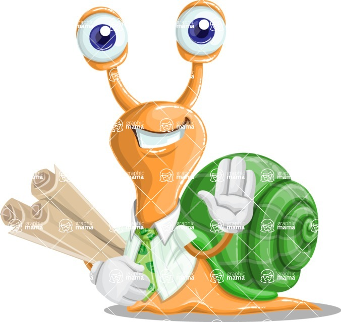 Snail with a Tie Cartoon Vector Character AKA Collin The Ecologist - Plans