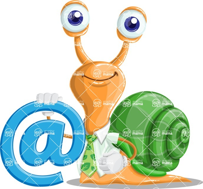 Snail with a Tie Cartoon Vector Character AKA Collin The Ecologist - Email