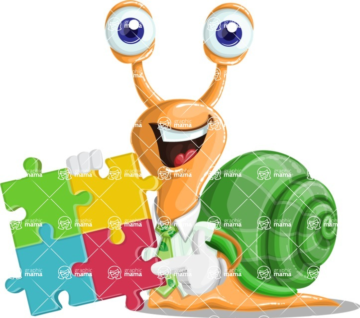 Snail with a Tie Cartoon Vector Character AKA Collin The Ecologist - Puzzle