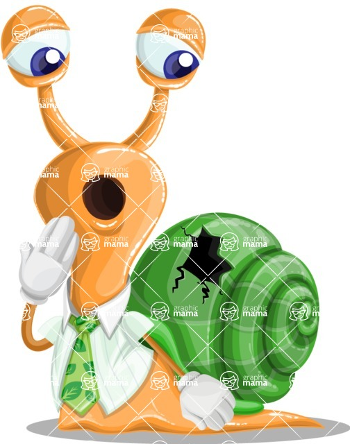 Snail with a Tie Cartoon Vector Character AKA Collin The Ecologist - Broken