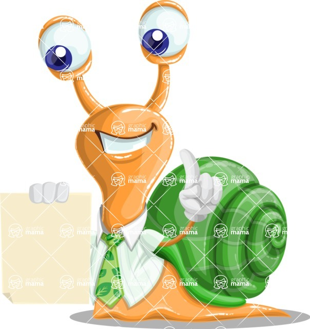 Snail with a Tie Cartoon Vector Character AKA Collin The Ecologist - Sign 2