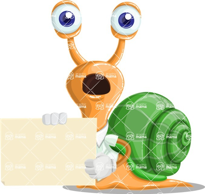 Snail with a Tie Cartoon Vector Character AKA Collin The Ecologist - Sign 4