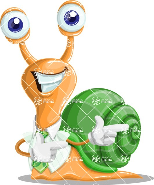 Snail with a Tie Cartoon Vector Character AKA Collin The Ecologist - Point