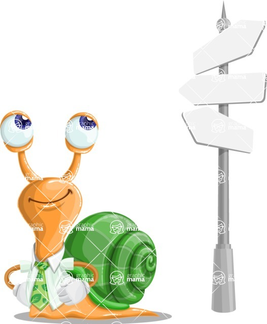 Snail with a Tie Cartoon Vector Character AKA Collin The Ecologist - Crossroad