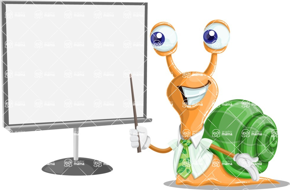 Snail with a Tie Cartoon Vector Character AKA Collin The Ecologist - Presentation 2