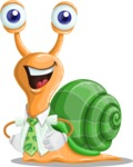 Snail with a Tie Cartoon Vector Character AKA Collin The Ecologist - Normal