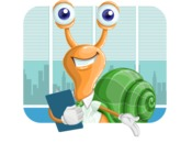 Snail with a Tie Cartoon Vector Character AKA Collin The Ecologist - Shape 2