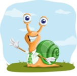 Snail with a Tie Cartoon Vector Character AKA Collin The Ecologist - Shape 9