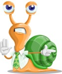 Snail with a Tie Cartoon Vector Character AKA Collin The Ecologist - Direct Attention