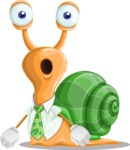 Snail with a Tie Cartoon Vector Character AKA Collin The Ecologist - Stunned