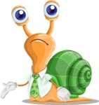 Snail with a Tie Cartoon Vector Character AKA Collin The Ecologist - Sad