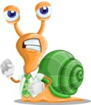 Snail with a Tie Cartoon Vector Character AKA Collin The Ecologist - Angry