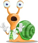 Snail with a Tie Cartoon Vector Character AKA Collin The Ecologist - Shocked