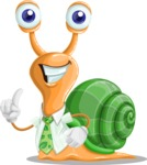 Snail with a Tie Cartoon Vector Character AKA Collin The Ecologist - Attention