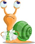 Snail with a Tie Cartoon Vector Character AKA Collin The Ecologist - Roll Eyes