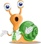 Snail with a Tie Cartoon Vector Character AKA Collin The Ecologist - Confused