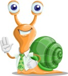 Snail with a Tie Cartoon Vector Character AKA Collin The Ecologist - Hello