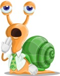 Snail with a Tie Cartoon Vector Character AKA Collin The Ecologist - Bored
