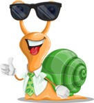 Snail with a Tie Cartoon Vector Character AKA Collin The Ecologist - Sunglasses