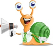 Snail with a Tie Cartoon Vector Character AKA Collin The Ecologist - Loudspeaker