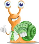 Snail with a Tie Cartoon Vector Character AKA Collin The Ecologist - Show me the Money