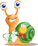 Snail with a Tie Cartoon Vector Character AKA Collin The Ecologist - Ribbon