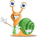 Snail with a Tie Cartoon Vector Character AKA Collin The Ecologist - Wave