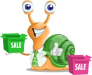 Snail with a Tie Cartoon Vector Character AKA Collin The Ecologist - Sale
