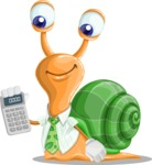 Snail with a Tie Cartoon Vector Character AKA Collin The Ecologist - Calculator