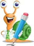 Snail with a Tie Cartoon Vector Character AKA Collin The Ecologist - Pencil
