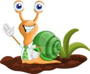 Snail with a Tie Cartoon Vector Character AKA Collin The Ecologist - Ground